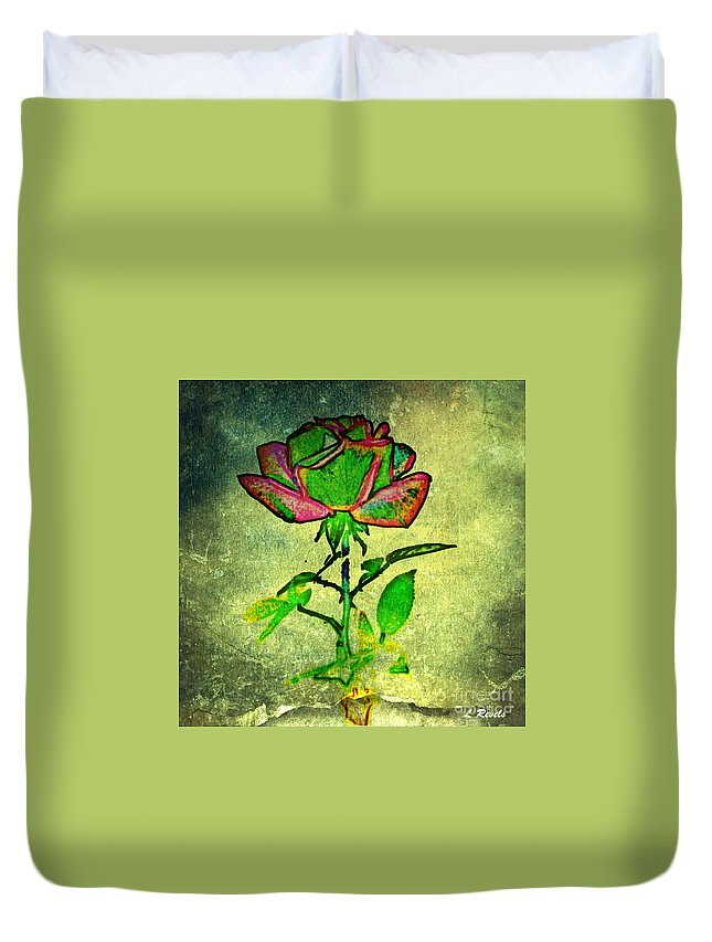 Flower Duvet Cover featuring the photograph Green Rose by Leslie Revels