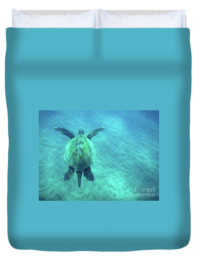Green Duvet Cover featuring the photograph Green Sea Turtle 3 by Bob Christopher