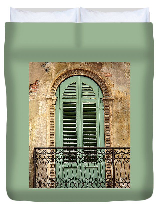 Green Duvet Cover featuring the photograph Green Shutters And Balcony In Verona by Greg Matchick