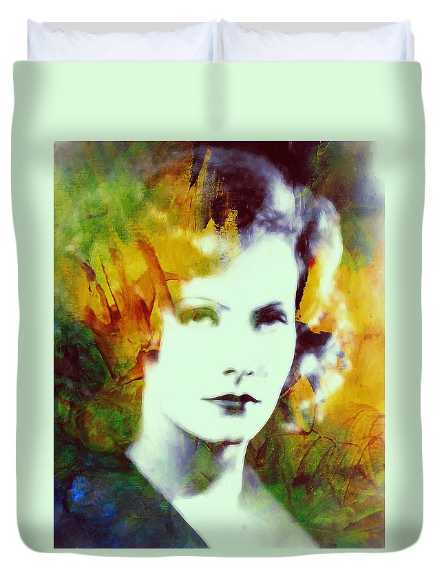 b9c308c505a Greta Garbo Actress Famous Beauty Face Portrait Expressionism Impressionism  Duvet Cover featuring the painting Greta Garbo