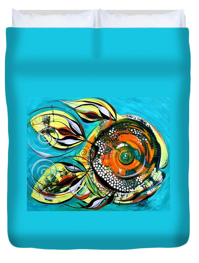 Fish Paintings Duvet Cover featuring the painting Gretchen Fish A Citrus Twist by J Vincent Scarpace