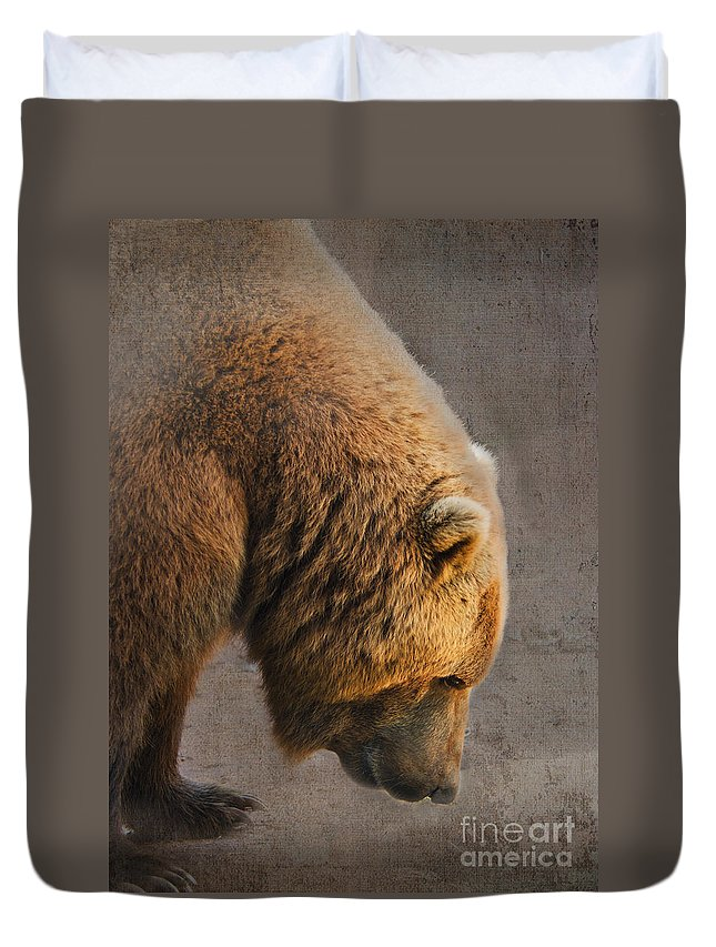 Bear Duvet Cover featuring the photograph Grizzly Hanging Head by Betty LaRue