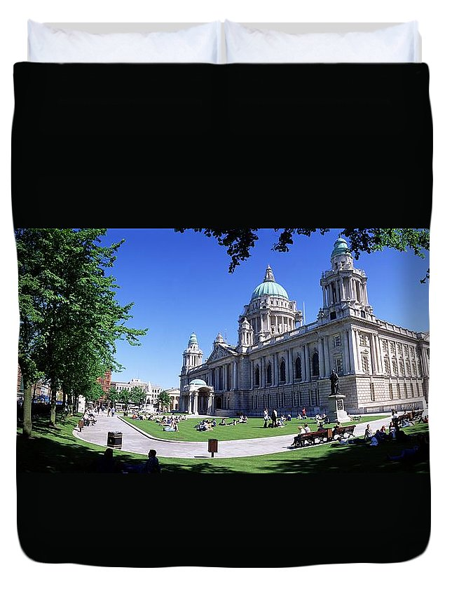 Belfast Duvet Cover featuring the photograph Group Of People Outside A Building by The Irish Image Collection