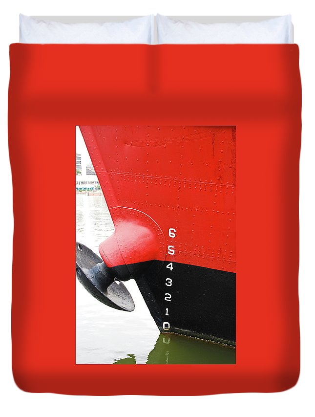 Boat Duvet Cover featuring the photograph Guage by Guy Whiteley