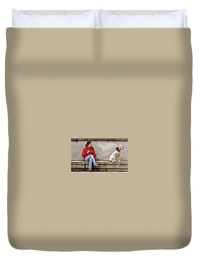 Dog Bulldog Guarding Watching Waiting Lady Duvet Cover featuring the photograph Guarding Laura by Alice Gipson