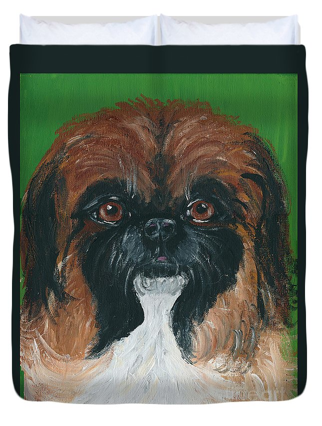 Peke Duvet Cover featuring the painting Gucci The Peke by Ania M Milo