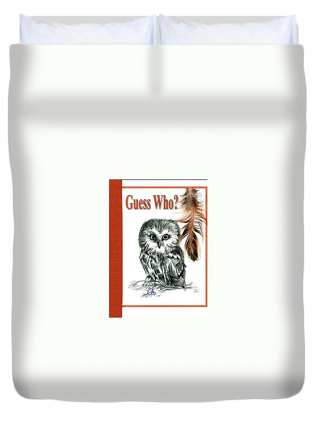 Owl Duvet Cover featuring the drawing Guess Who by Carol Allen Anfinsen