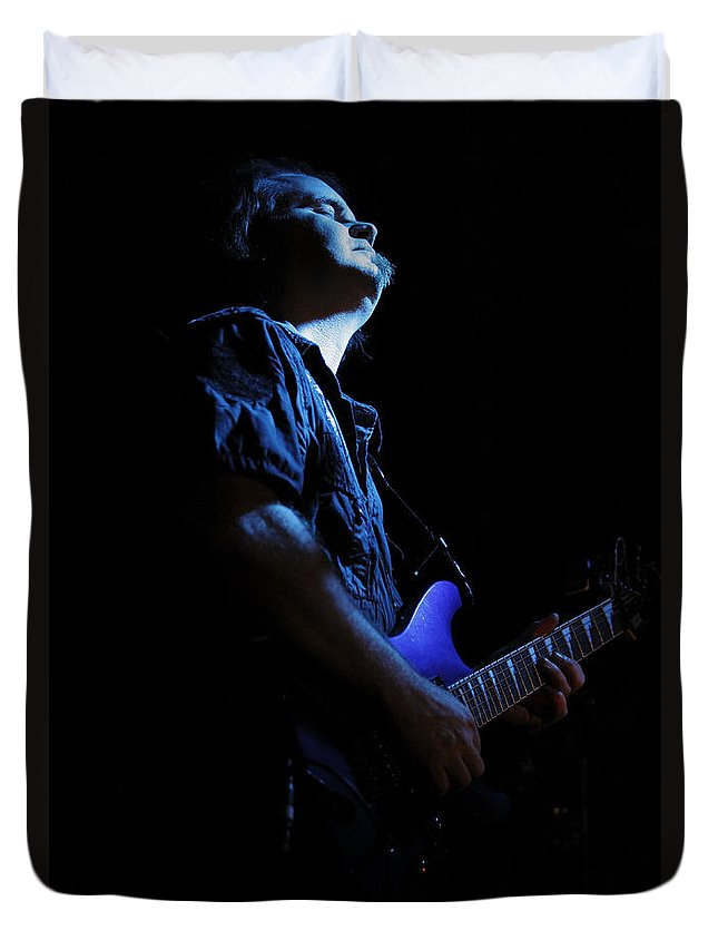 Shadow Gallery Duvet Cover featuring the photograph Guitarist In Blue by Rick Berk
