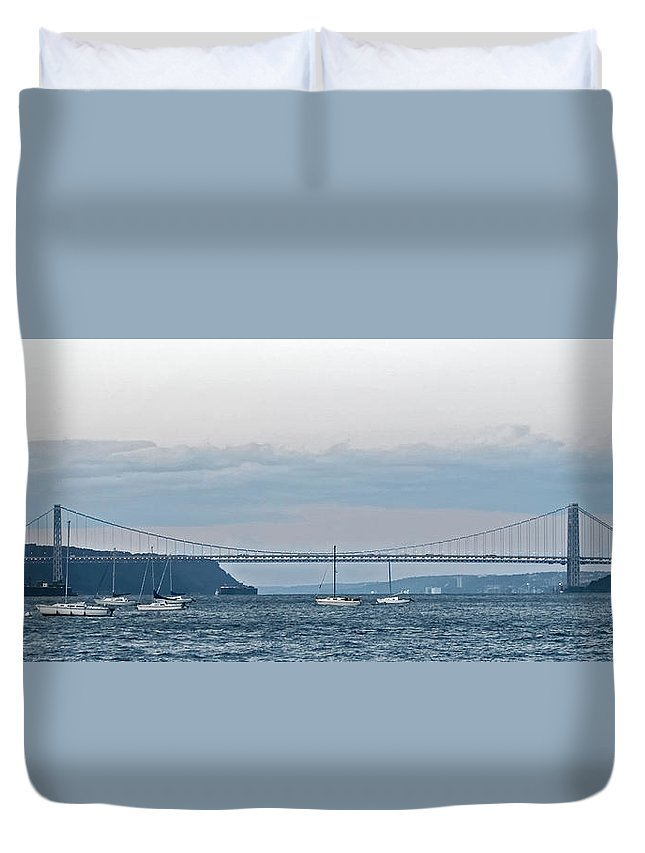 Panoramic Duvet Cover featuring the photograph Gwb Sunset by S Paul Sahm