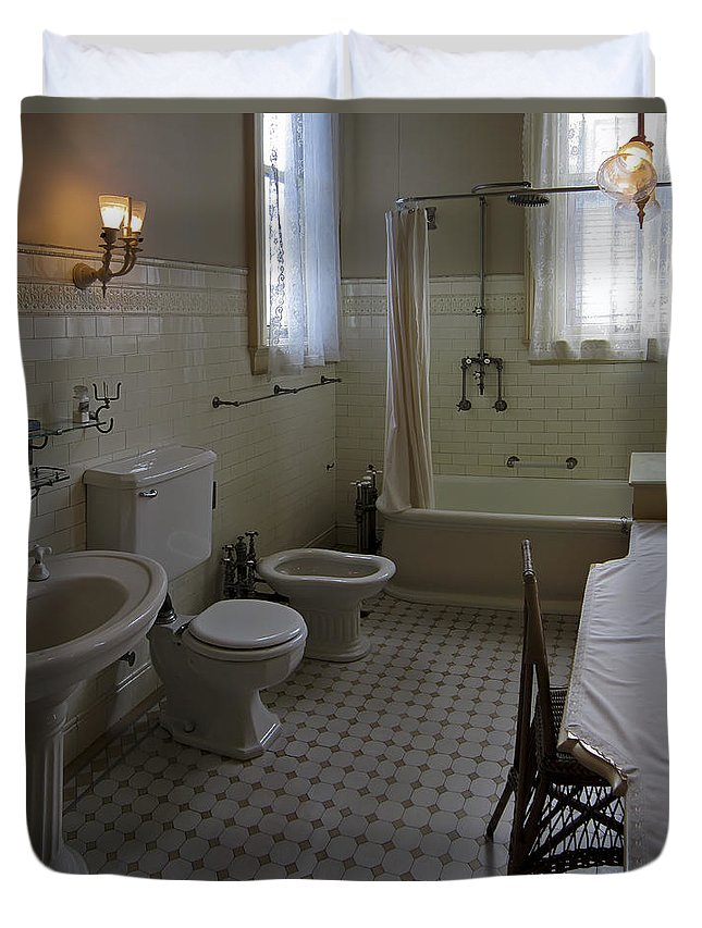 Victorian Duvet Cover featuring the photograph Haas Lilienthal House Victorian Bath - San Francisco by Daniel Hagerman