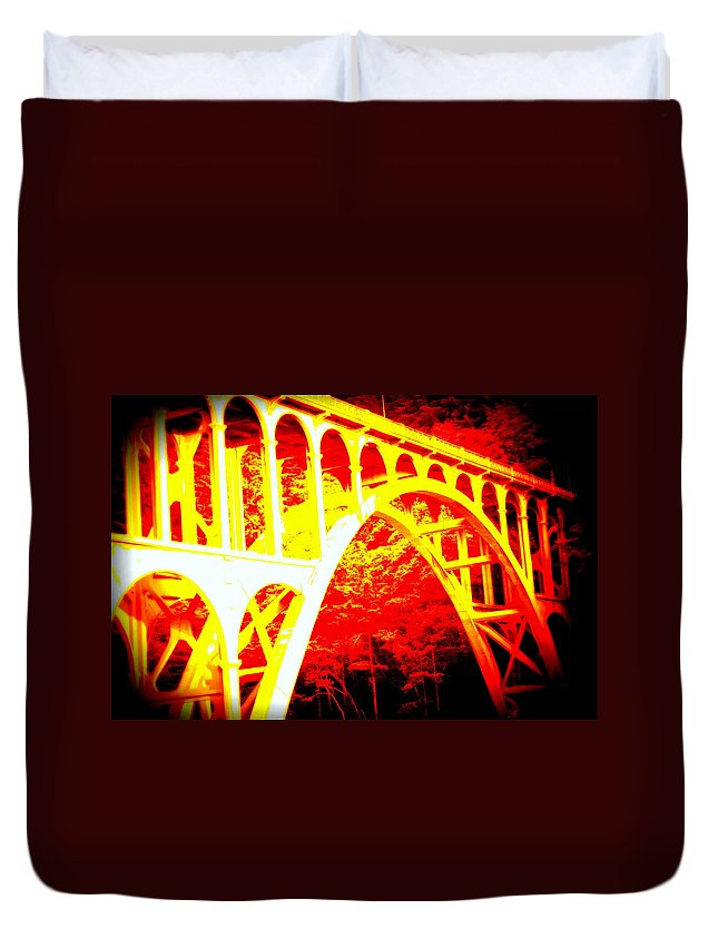 Coast Duvet Cover featuring the photograph Haceta Head Bridge In Abstract by Kathy Sampson