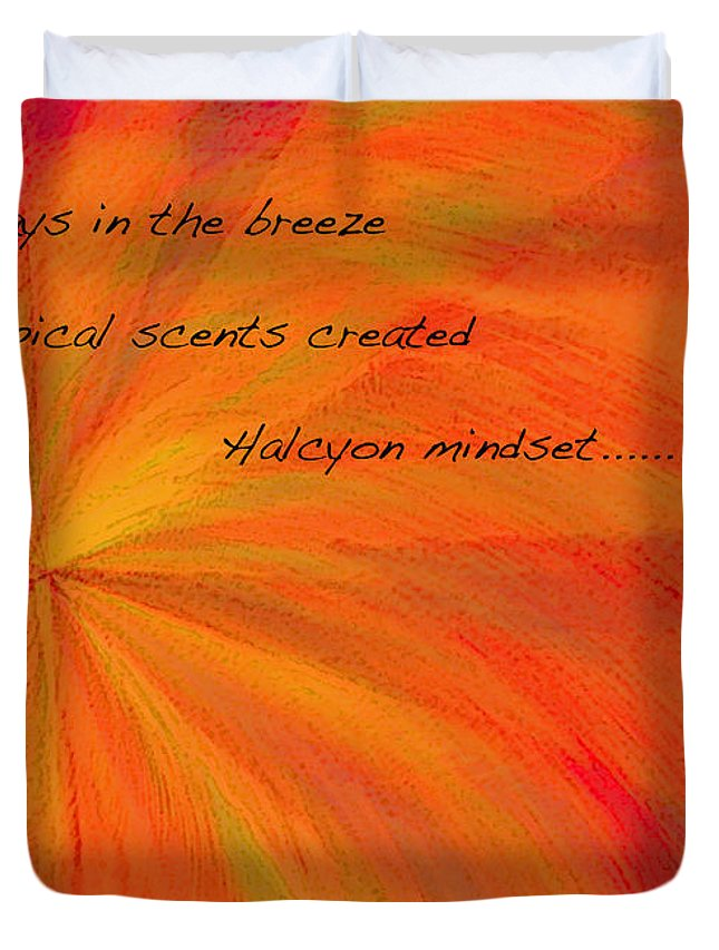 Abstract Duvet Cover featuring the digital art Halcyon Haiku by ME Kozdron