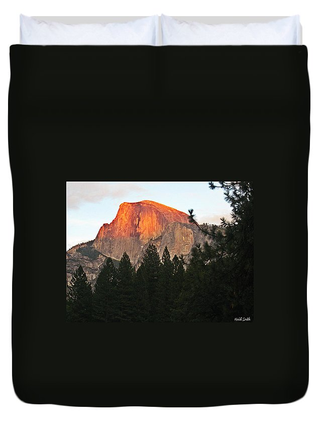 Half Dome Duvet Cover featuring the photograph Half Dome Alpenglow by Heidi Smith