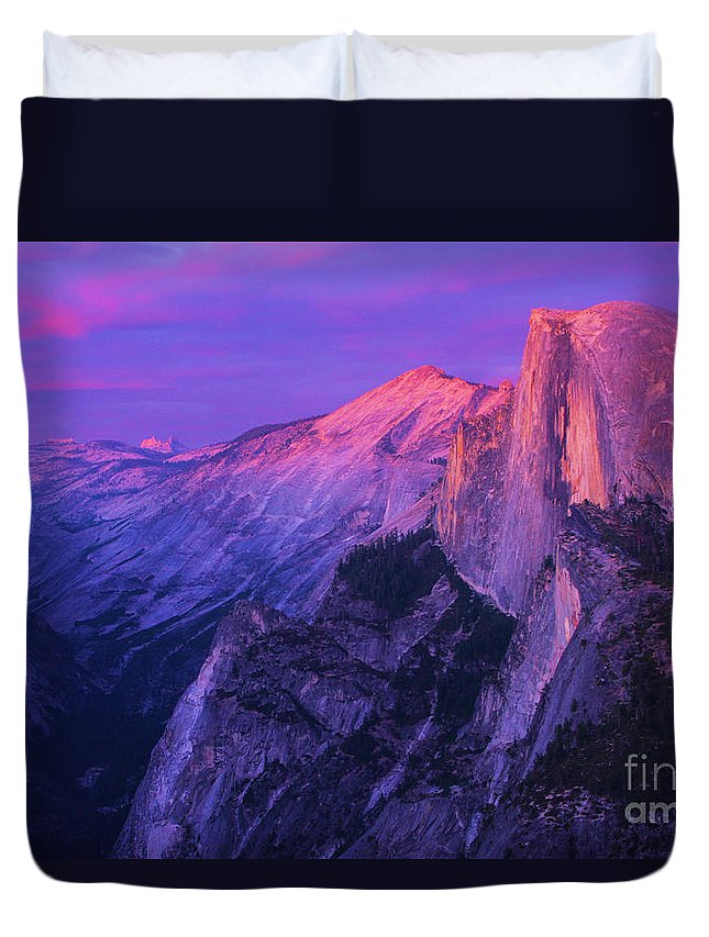 Half Dome Duvet Cover featuring the photograph Half Purple Dome by Adam Jewell