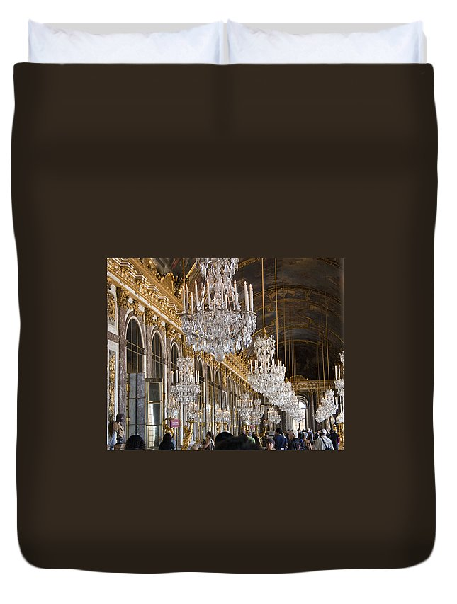 Palace Of Versailles Paris France Duvet Cover featuring the photograph Hall Of Mirrors At Palace Of Versailles France by Jon Berghoff