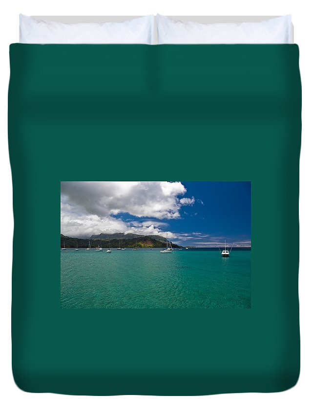 Beach Duvet Cover featuring the photograph Hanalei Bay Kauai by Roger Mullenhour