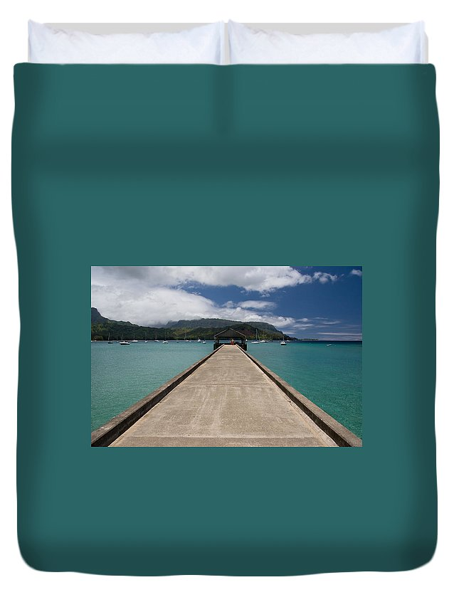 Nature Duvet Cover featuring the photograph Hanalei Pier by Roger Mullenhour