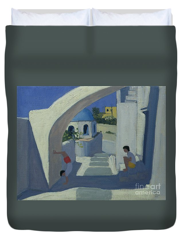 Greek Island Duvet Cover featuring the painting Handstand by Andrew Macara