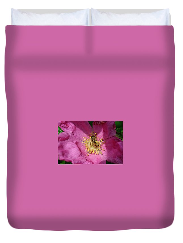 Bee Duvet Cover featuring the photograph Happy As Can Bee by David Rucker