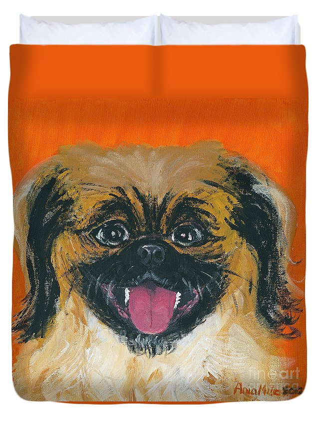 Happy Peke Duvet Cover featuring the painting Happy Face by Ania M Milo