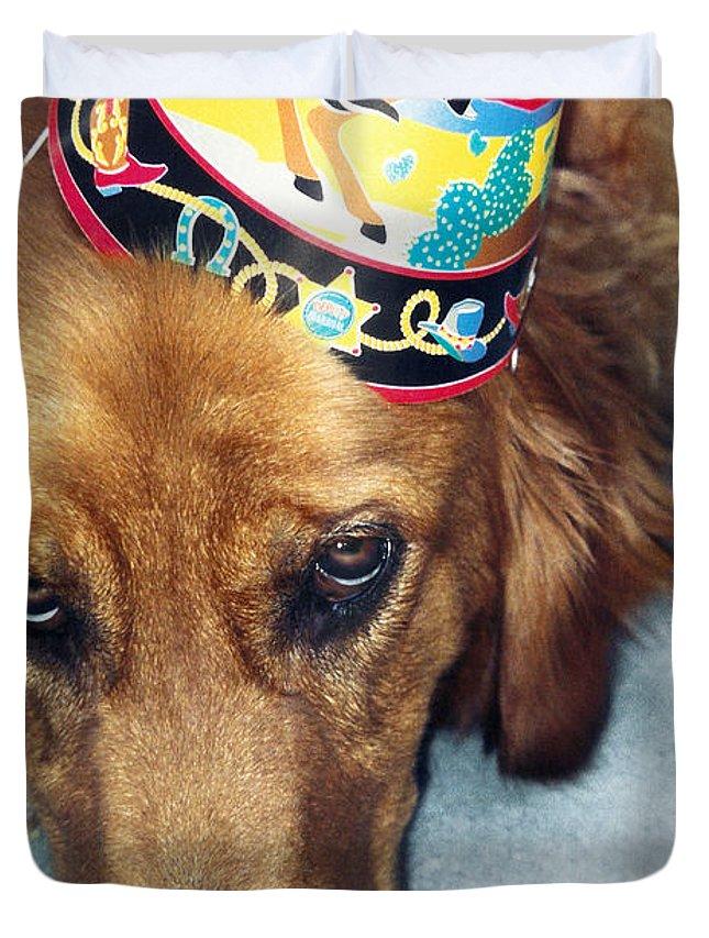Golden Retriever Duvet Cover featuring the photograph Happy Happy Birthday Buddy by Lorraine Devon Wilke