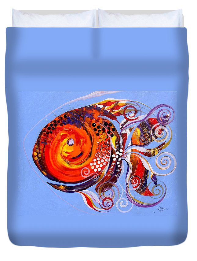 Fish Paintings Duvet Cover featuring the painting Happy Rainbow Fish by J Vincent Scarpace
