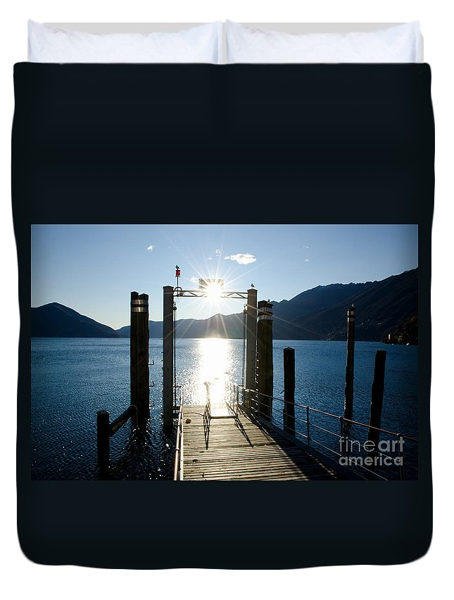 Port Duvet Cover featuring the photograph Harbor And Sun by Mats Silvan
