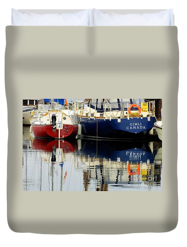 Fishing Boats Duvet Cover featuring the photograph Harbor Reflections by Bob Christopher