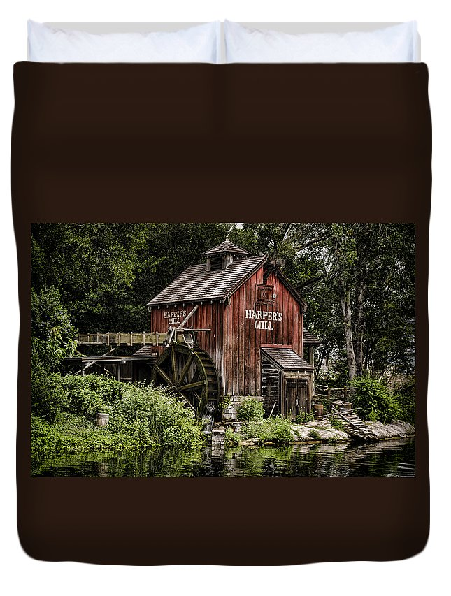 Mill Duvet Cover featuring the photograph Harpers Mill by Heather Applegate