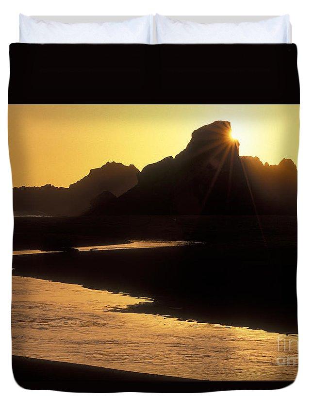 Sandra Bronstein Duvet Cover featuring the photograph Harris Beach Sunset by Sandra Bronstein
