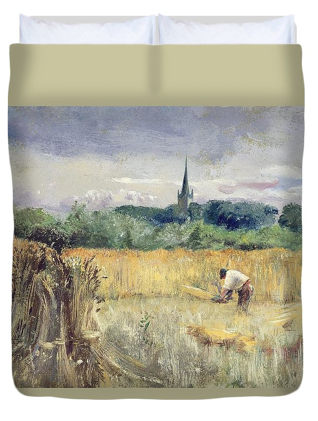 Harvest Field Duvet Cover featuring the painting Harvest Field At Stratford Upon Avon by John William Inchbold