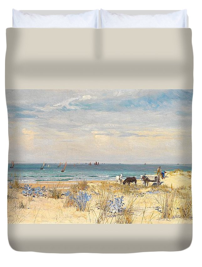 Boat Duvet Cover featuring the painting Harvesting The Land And The Sea by William Lionel Wyllie