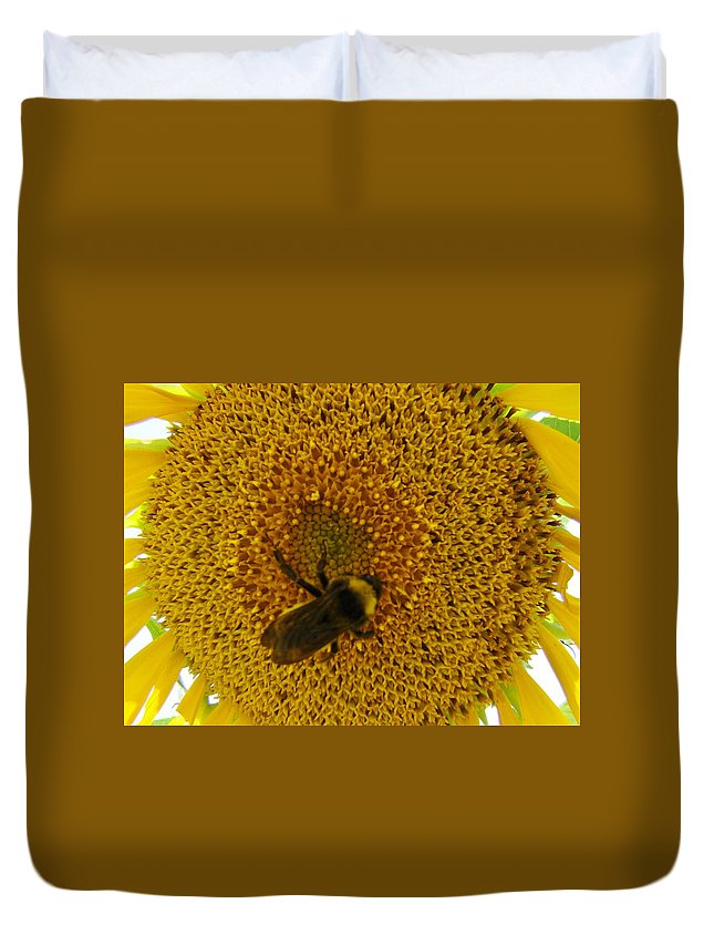 Bee Duvet Cover featuring the photograph Harvesting The Sun by Michael MacGregor