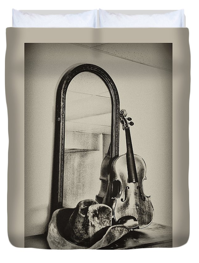 Cowboy Duvet Cover featuring the photograph Hat And Fiddle by Bill Cannon