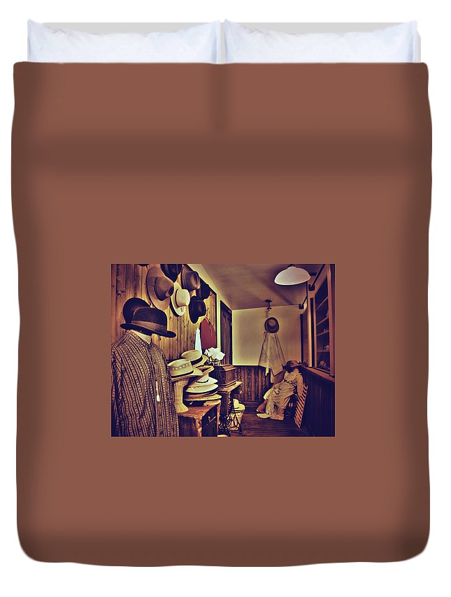 Photographs Framed Prints Duvet Cover featuring the photograph Hat Room by The Artist Project