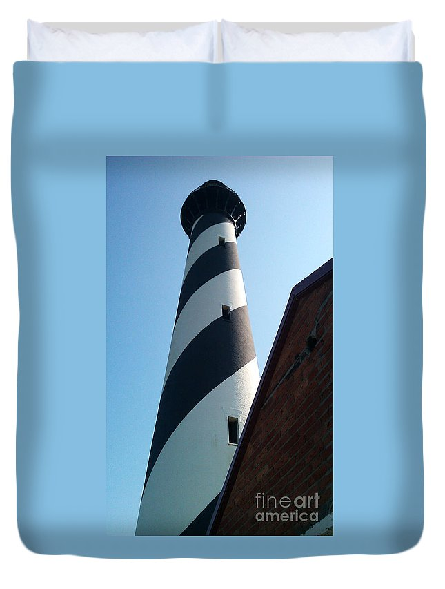 Hatteras Duvet Cover featuring the photograph Hatteras Light by Tony Cooper
