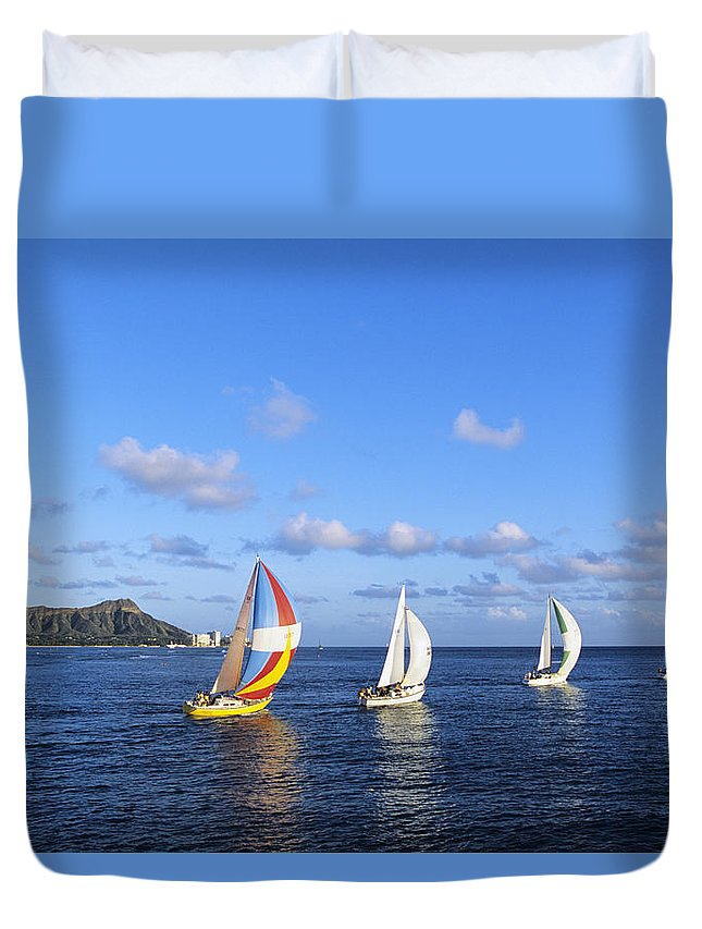 Afternoon Duvet Cover featuring the photograph Hawaii Sailboats by Joss