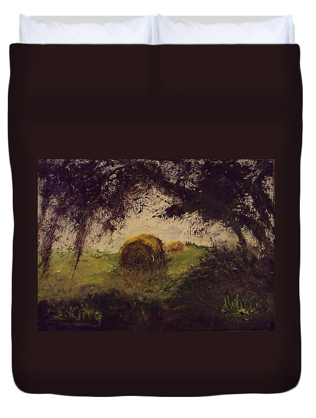 Landscape Duvet Cover featuring the painting Hay Bale by Stephen King