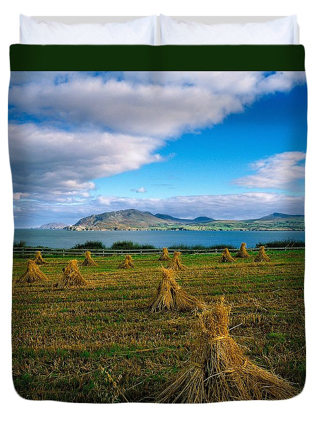 Cloud Duvet Cover featuring the photograph Hay Bales In A Field, Ireland by The Irish Image Collection