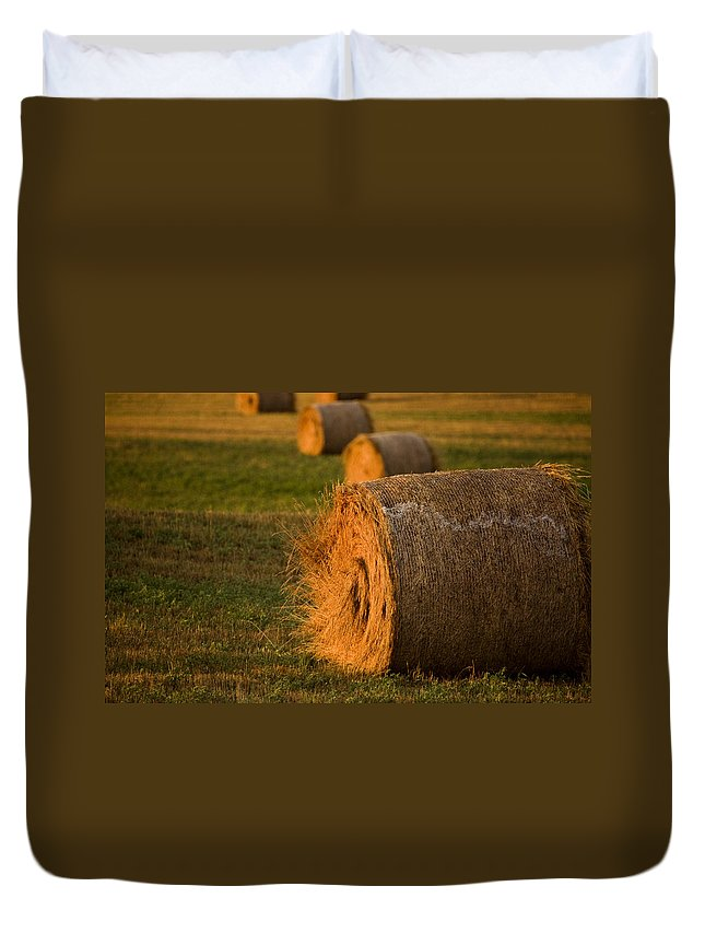 Hay Duvet Cover featuring the photograph Hay Bales by Mark Duffy