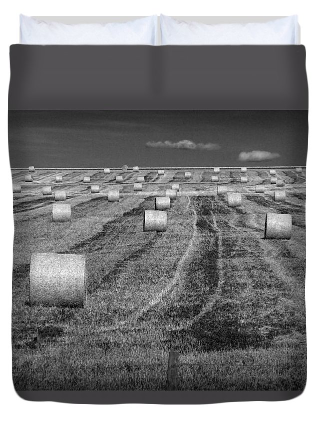Art Duvet Cover featuring the photograph Hay Bales On A Farm In Alberta by Randall Nyhof
