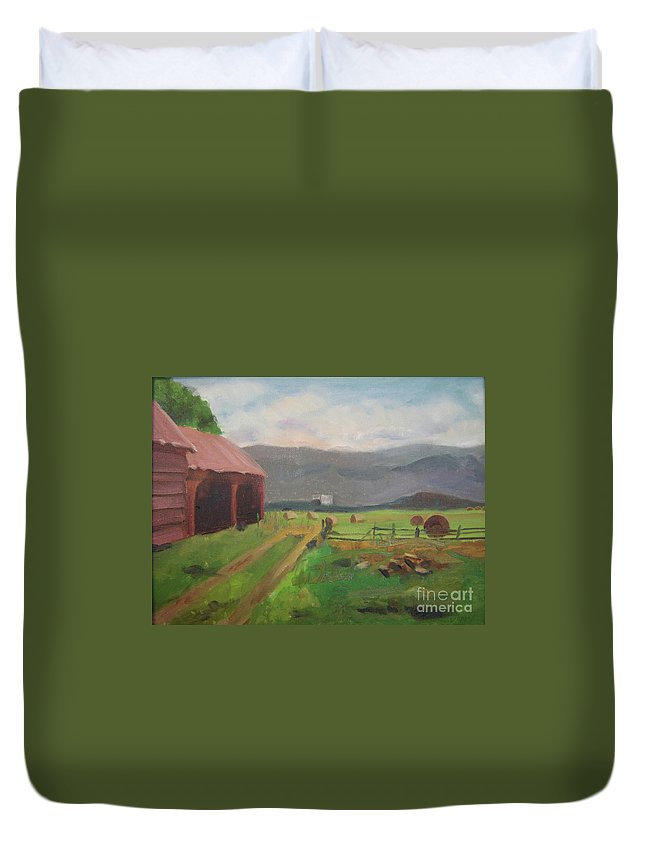 Colorado Duvet Cover featuring the painting Hay Day Farm by Lilibeth Andre