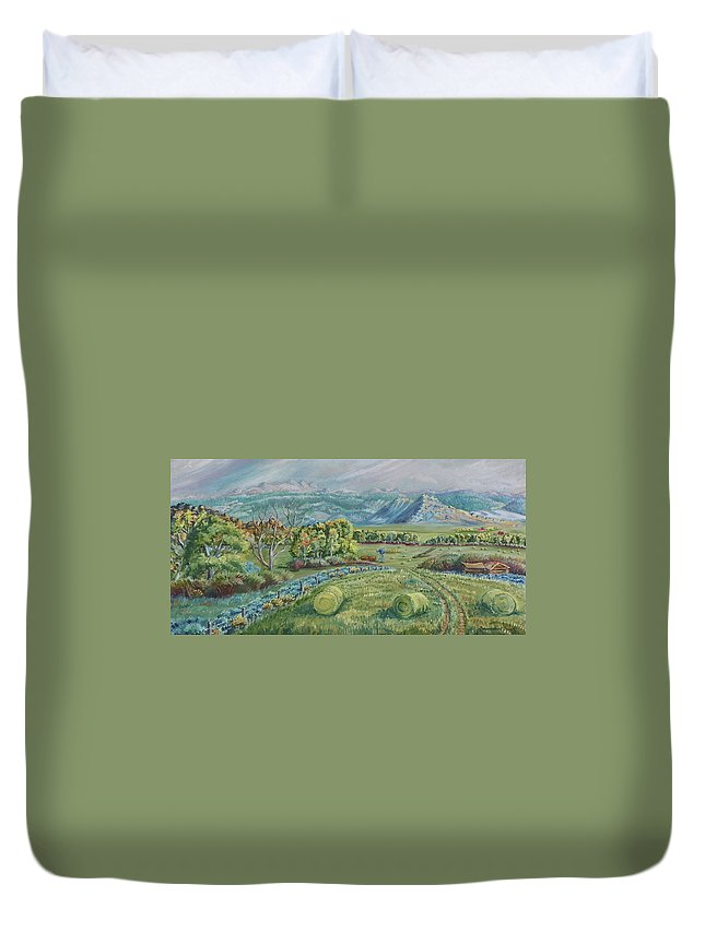 Landscape Duvet Cover featuring the painting Haying Time In The Valley by Dawn Senior-Trask
