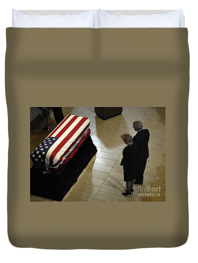 Adults Only Duvet Cover featuring the photograph He Casket Of Former President Gerald R by Stocktrek Images