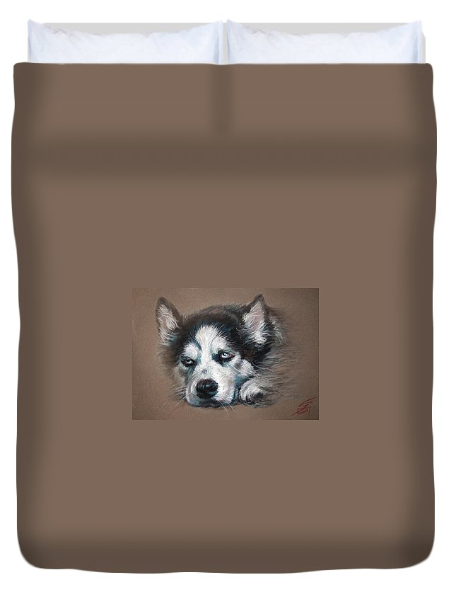 Dog Duvet Cover featuring the pastel He Is Watching You by Ylli Haruni