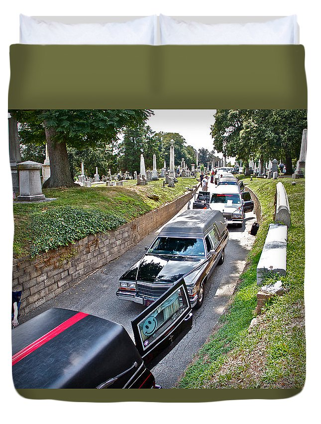 Laurel Hill Cemetery Hearses Show Hearse Tombstones Grave Stones Markers Philadelphia Duvet Cover featuring the photograph Hearses At Laurel Hill Cemetery by Alice Gipson