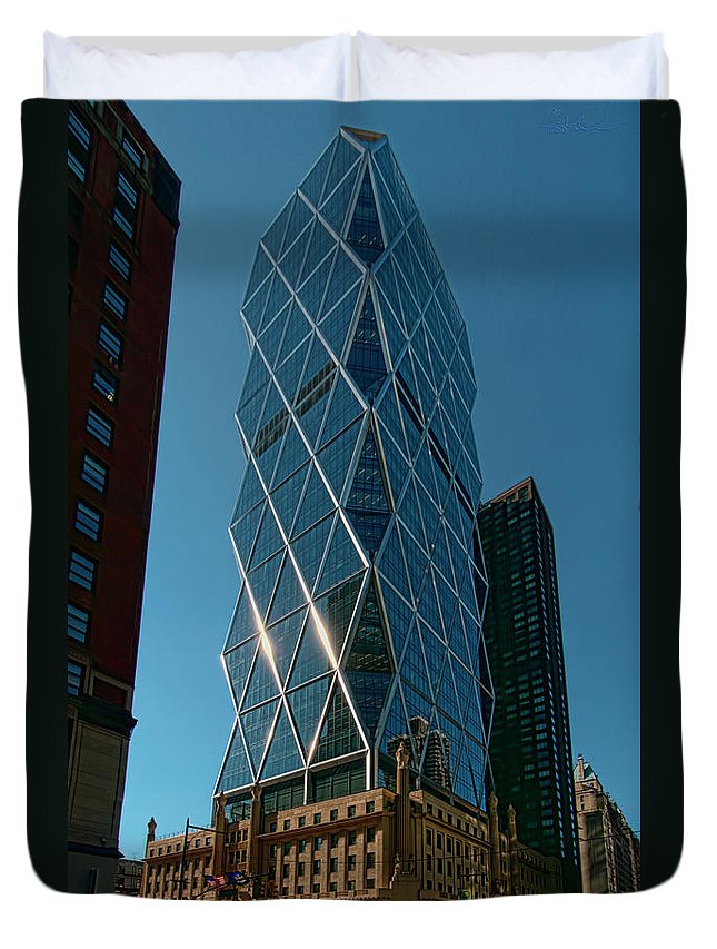 Iconic Duvet Cover featuring the photograph Hearst Building by S Paul Sahm