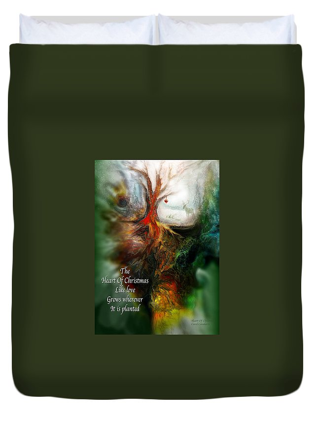 Christmas Card Duvet Cover featuring the mixed media Heart Of Christmas Card by Carol Cavalaris
