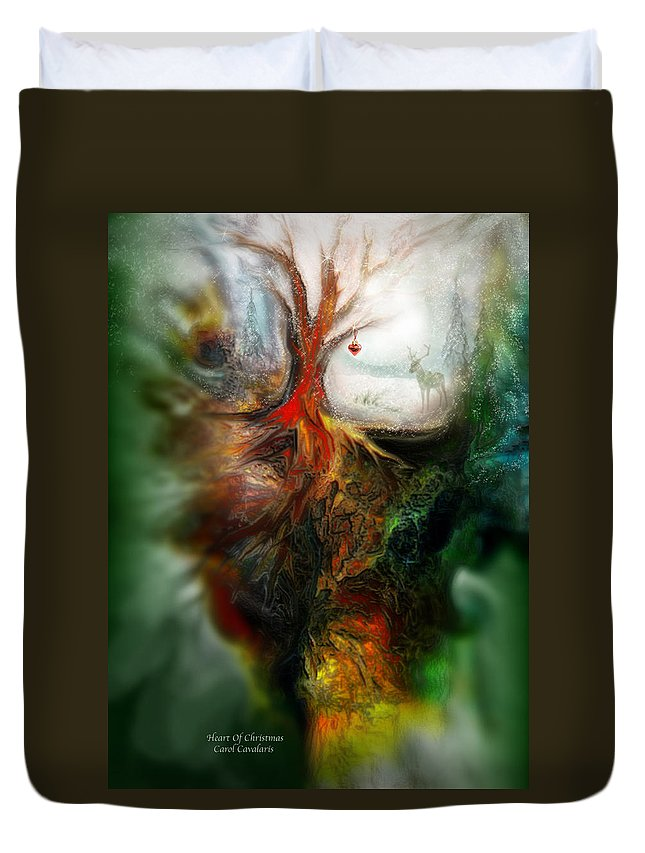 Christmas Duvet Cover featuring the mixed media Heart Of Christmas by Carol Cavalaris