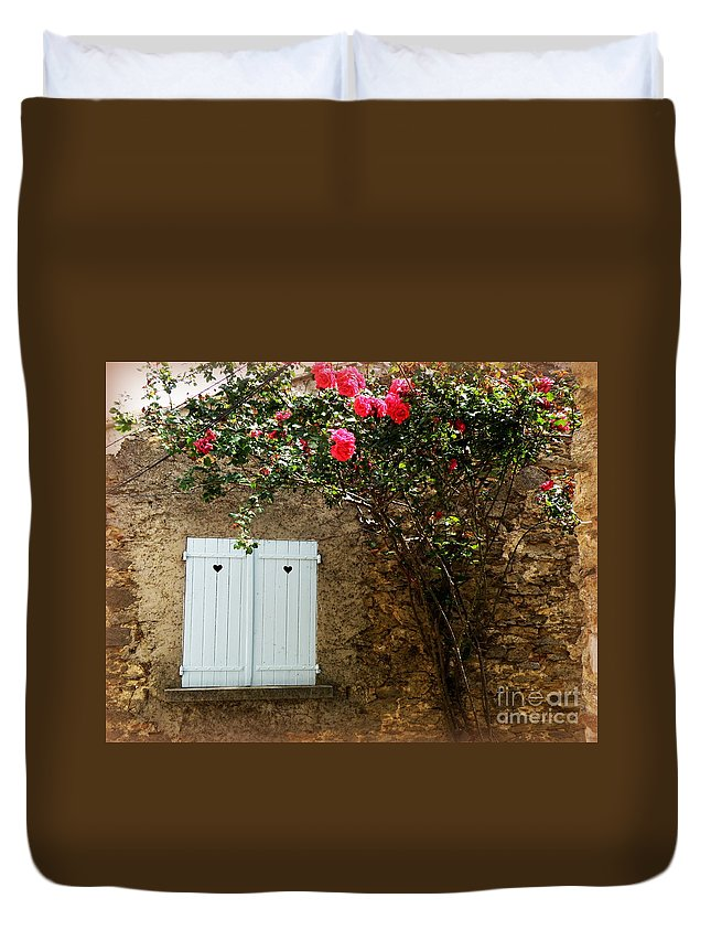Provence Duvet Cover featuring the photograph Heart Shutters And Red Roses by Lainie Wrightson